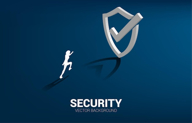 Businessman running to 3d protection shield icon.