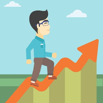 Businessman running along the growth graph