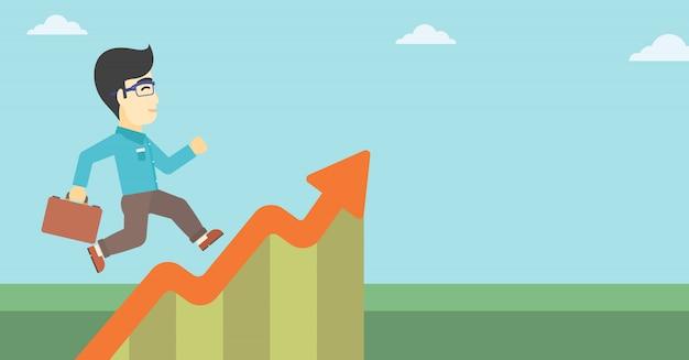 Businessman running along the growth graph.