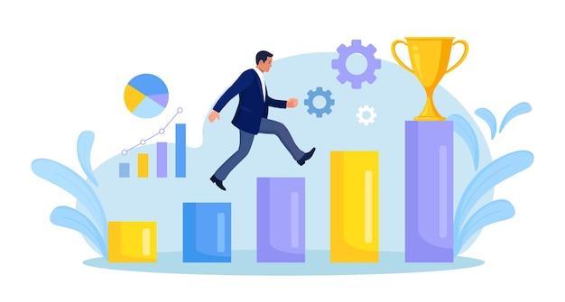 골드 트로피에 단계를 따라 실행 하는 사업가. 비즈니스 및 금융 성공 달성. 야망 계획, 기회, 경력 개발. 목표를 향해 달리는 사람, 동기 부여, 목표 경로