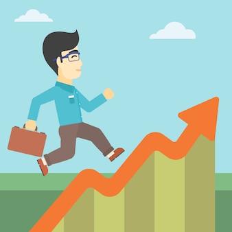 成長グラフに沿って走っている実業家。