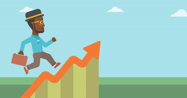 Бизнесмен работает вдоль графика роста.