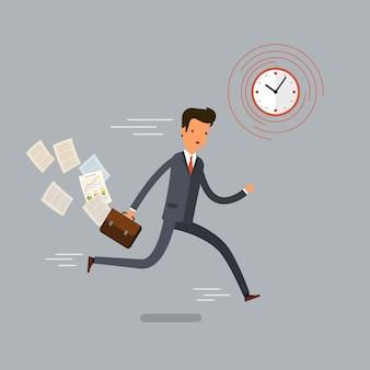 実行中のビジネスマンと急いで。フラットなデザイン、ベクトル図