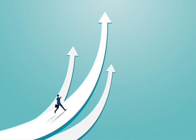 Businessman running on the arrow pointing up. businessman towards arrow pointing up direction overcome of economy recession concept. leadership, startup, vision, vector illustration flat