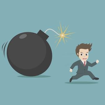 Businessman running away from big bomb.cartoon business concept.