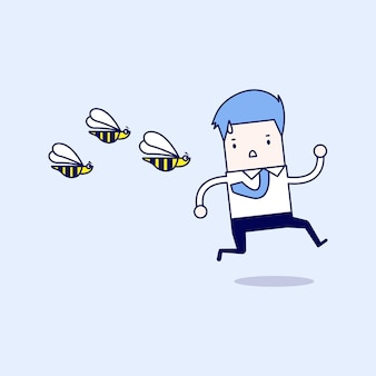 危険な昆虫から逃げるビジネスマン。漫画のキャラクターの細い線スタイルのベクトル。