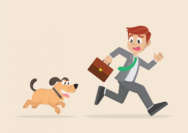 Businessman running away from dogs chases to bite.