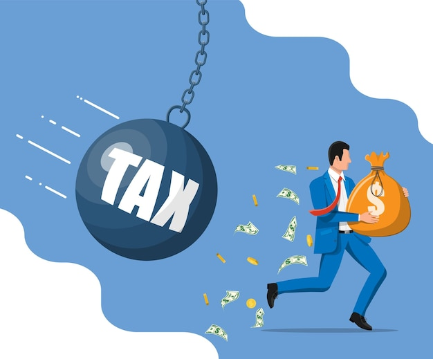 Businessman running away from huge tax pendulum. business man with money sack and wrecking ball. tax, debt, fee, crisis and bankruptcy. vector illustration in flat style