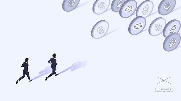 Businessman running away from money.