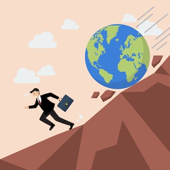 Businessman running away from planet earth