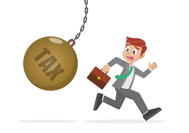 Businessman running away from tax pendulum.