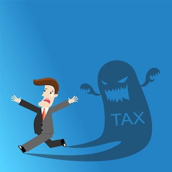 Businessman running away from tax. for tax concept