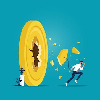 달러 동전 돈, 재정적 자유 벡터 개념에 돌파구를 실행하는 사업가