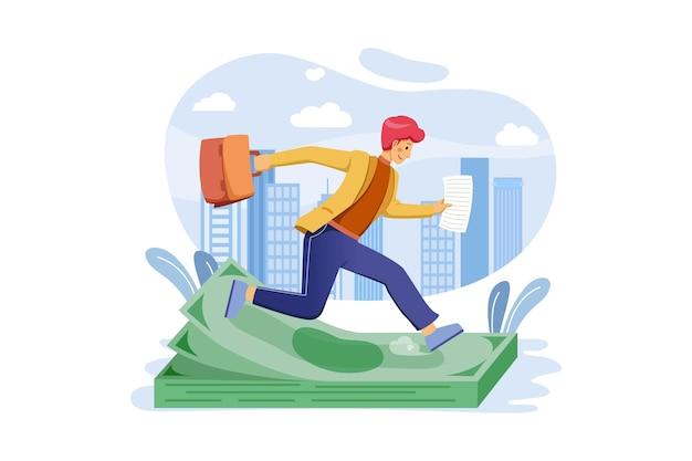 Businessman running for cash illustration
