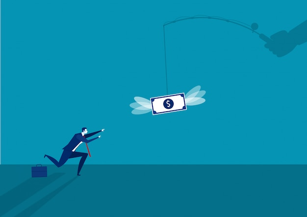 Businessman running catch a dollar placed on a hook ,active income illustration.