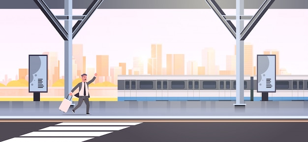 Businessman running to catch train business man with luggage on railway station city public transport male cartoon character cityscape