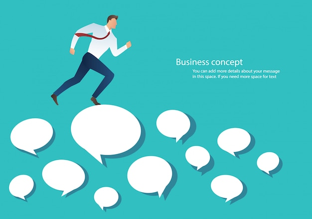Businessman running on chat box vector