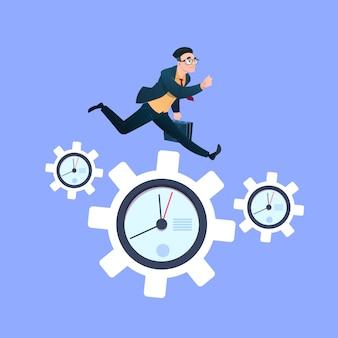 Businessman running on clock cogwheels over blue background gear deadline process strategy concept flat