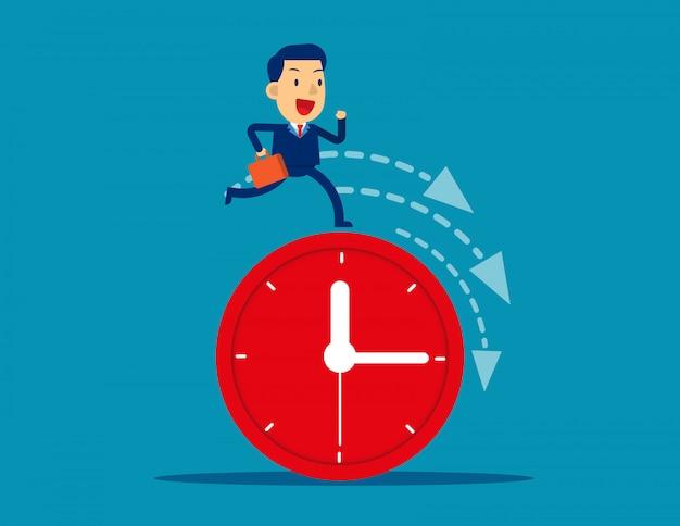 Businessman running on clock representing deadline