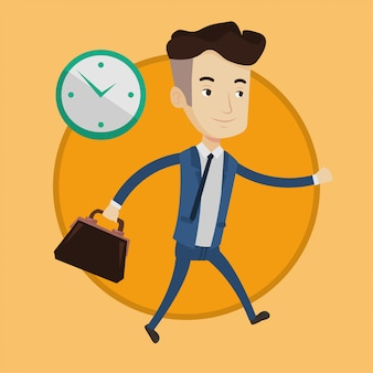 Businessman running on clock.
