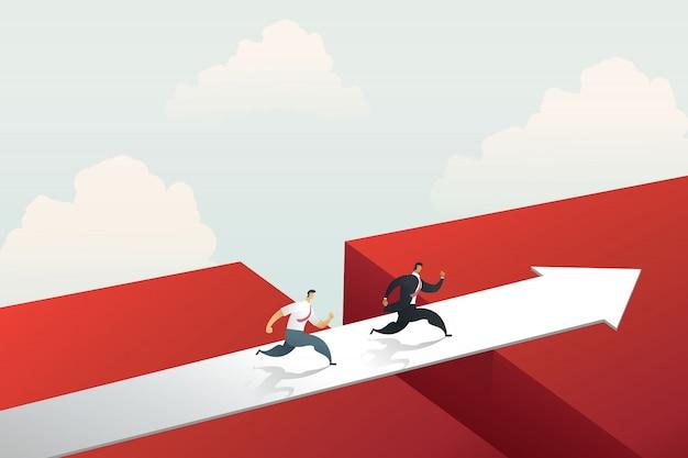 目標を達成するために赤い矢印の橋を渡って実行している実業家。