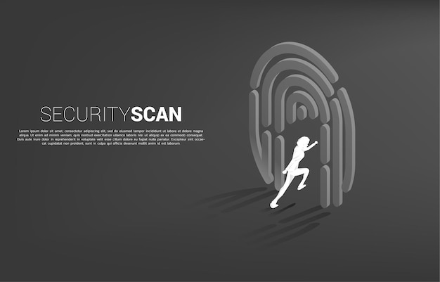 Businessman running to finger scan icon. concept for security and privacy technology for identity data