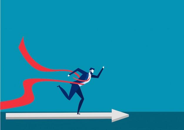 Businessman running to finish line, leadership illustration