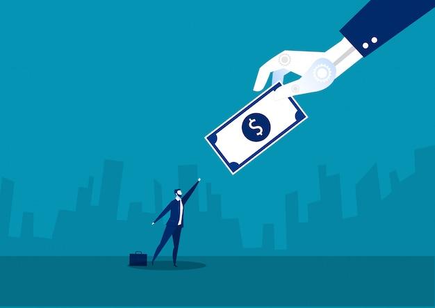 Бизнесмен работает для концепции доллара работника