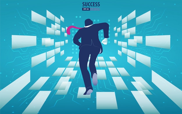 Businessman running to the future. catch the opportunity.  background vector illustration