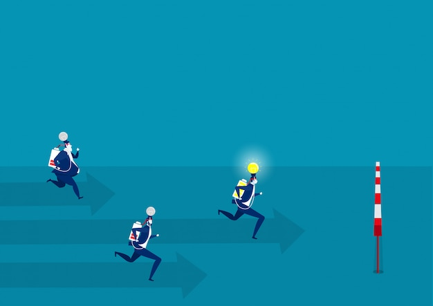 Businessman running on growth graph with idea light success, .
