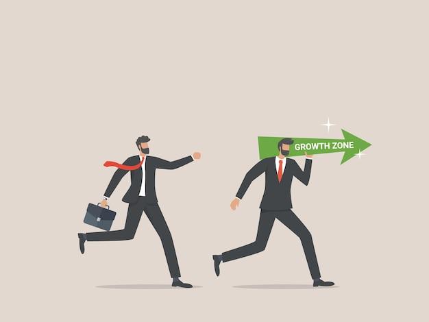 Businessman running to growth zone