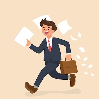 Businessman running and holding paper