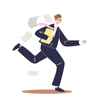 Бизнесмен работает в спешке на работу в офис. деловой человек в костюме поздно утром. торопливый мужской персонаж мультфильма