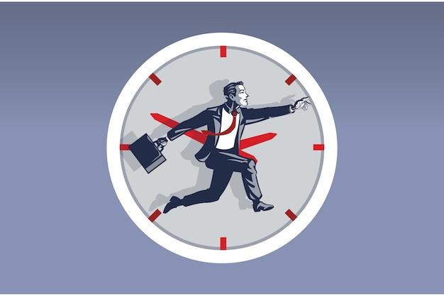 Businessman running inside big watch. illustration concept of business activities around the clock