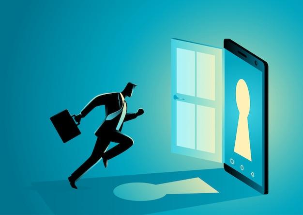 Businessman running into a smart phone
