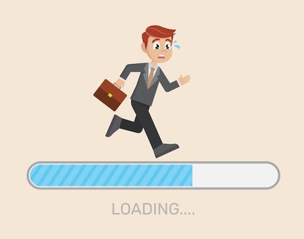 Businessman running on loading bar.
