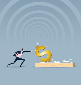 Businessman running to mousetrap. business concept vector