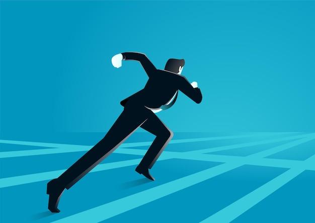 Бизнесмен, работающий в сети, описывает гонку