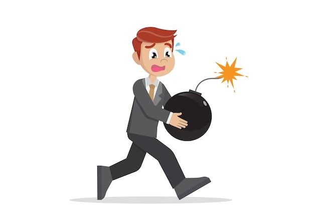 Businessman running panic with bomb.