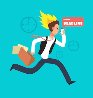 Businessman running race. rushing worker with smartphone and portfolio with paper documents. deadline vector concept
