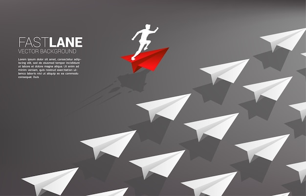 Businessman running on red origami paper airplane is move faster than group of white. business concept of fast lane for moving and marketing