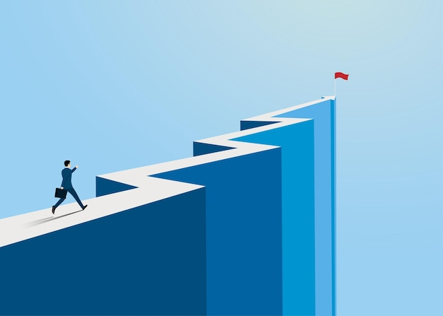 Businessman running to the success on top of the arrow mountain, symbol of the startup, business finance concept, achievement, leadership, vector illustration flat style