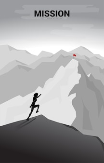 山の頂上で旗を立てるために走っているビジネスマン。