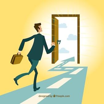 Бизнесмен работает на двери выхода