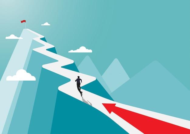 Бизнесмен бежит к успеху флаг
