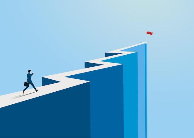 矢印の山の頂上で成功に走るビジネスマン、スタートアップのシンボル、ビジネスファイナンスの概念、成果、リーダーシップ、ベクトルイラストフラットスタイル