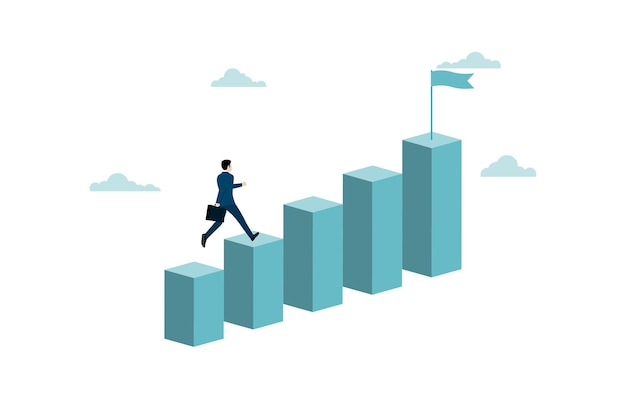 グラフの一番上に走っているビジネスマン。ビジネスマンのための目標、成功、野心、機会、達成、挑戦、成功のビジネスコンセプト。ベクトルイラストフラット
