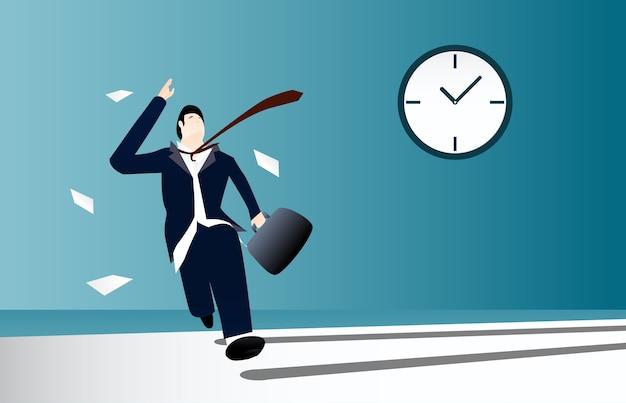 사업가 배경에 시계와 늦게 작동하기 위해 실행