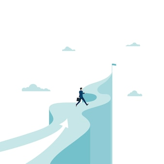 Businessman running towards the target on the mountain. concept business success. leadership, ambition. eps-10 vector illustration flat