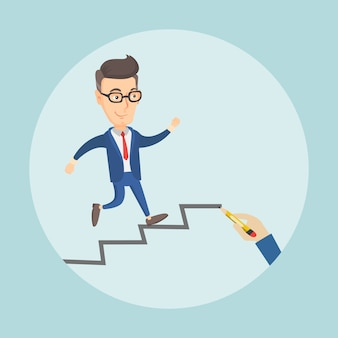 Businessman running up the career ladder.